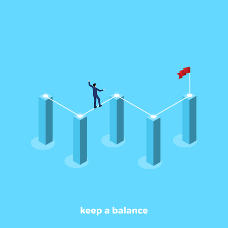a man in a business suit walks along the rope stretched between the pillars of the chart, an isometric image
