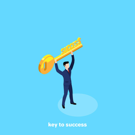 man in a business suit with a golden key in his hands, isometric image