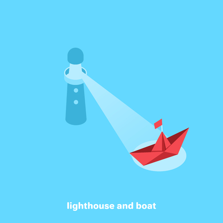 lighthouse illuminating the way the boat, isometric image