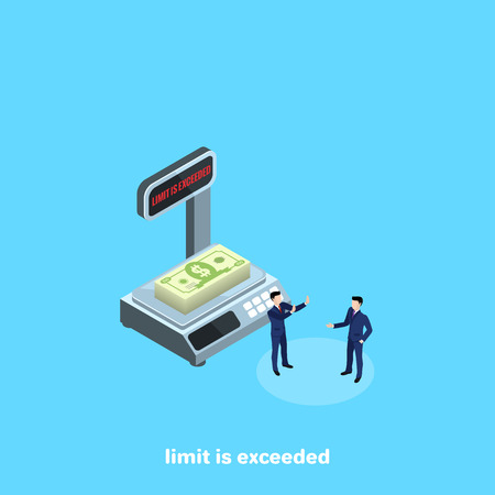 a stack of money on electronic scales and men in business suits next to, an isometric image