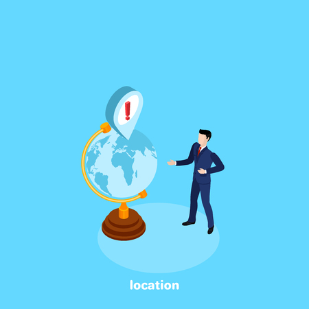 a man in a business suit shows on the globe the position of something important, an isometric image Illustration