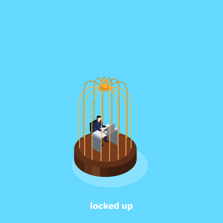 a man in a business suit sits at a desk in a golden cage, an isometric image