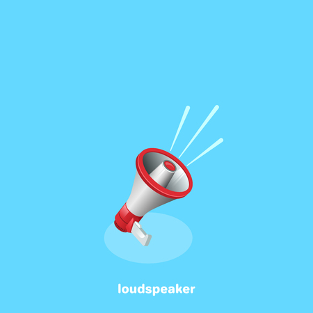 volume speaker icon on a blue background, isometric image