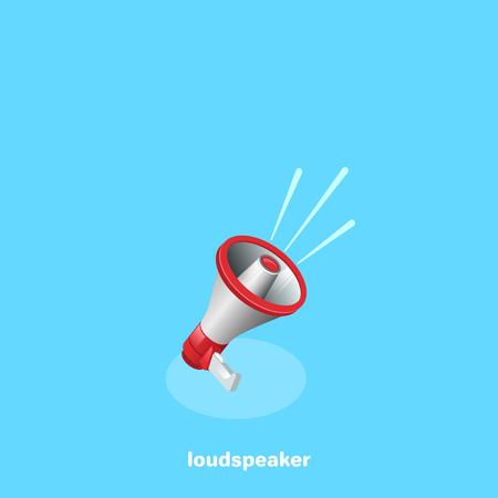 volume speaker icon on a blue background, isometric image