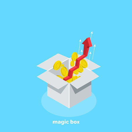 Aspiring red arrow in the up and scattered coins from the white box, isometric image Illustration