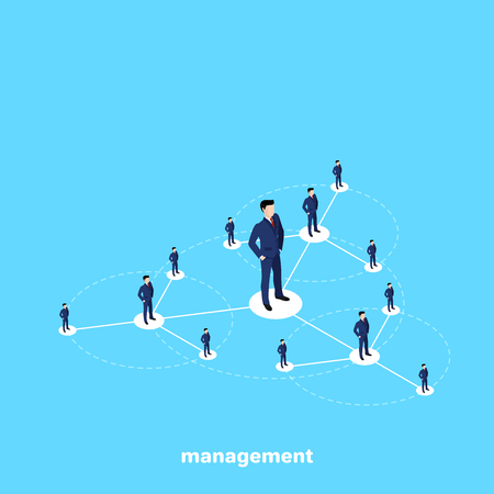 men in business suits stand on the management structure diagram, isometric image Illustration