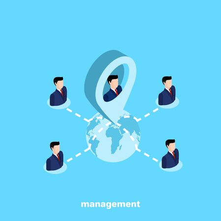 men in business suits and line connecting them, isometric business icon on cooperation
