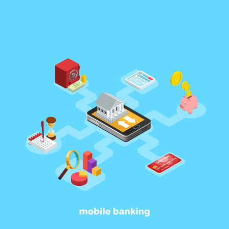 mobile banking and non-cash transactions concept vector illustration, isometric image