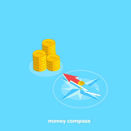 compass points to a place with money, isometric image