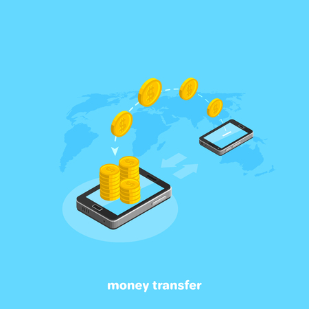 Gold coins are transferred from one smartphone to another, an isometric image Illustration