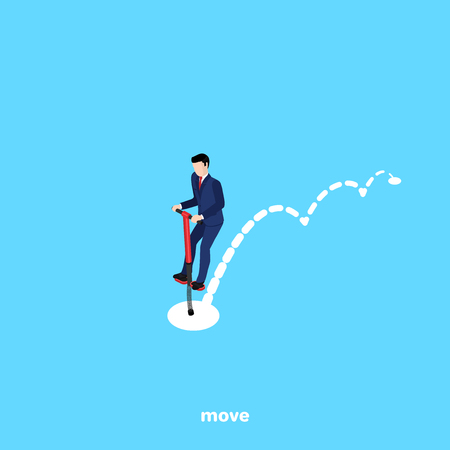 a man in a business suit jumping on a spring, an isometric image Illustration