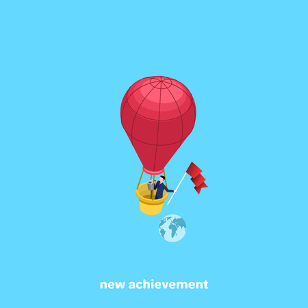 a man in a business suit flies in a balloon and keeps developing flag, an image in isometric style Illustration