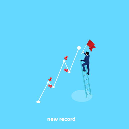 a man in a business suit with a flag in his hand fixes a new record, an isometric image
