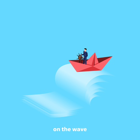 Red paper boat with the captain at the helm overcomes the raging waves, isometric image