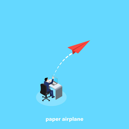 A man in a business suit sitting at his desk launches a paper plane, an isometric image Ilustração