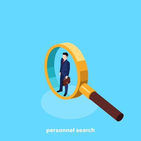 The recruitment of personnel for a high position, the search for good specialists at the labor exchange, isometric image