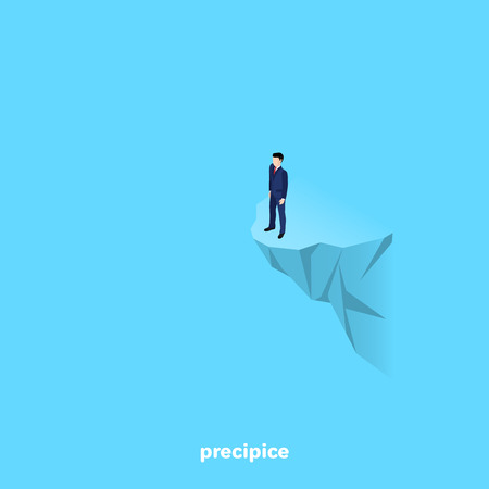 Man in a business suit stands on the edge of a rock, isometric image.