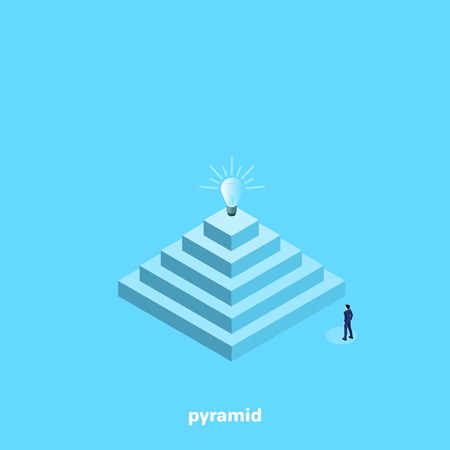 Man in business suit stands near a large pyramid with lightbulb, isometric illustration.