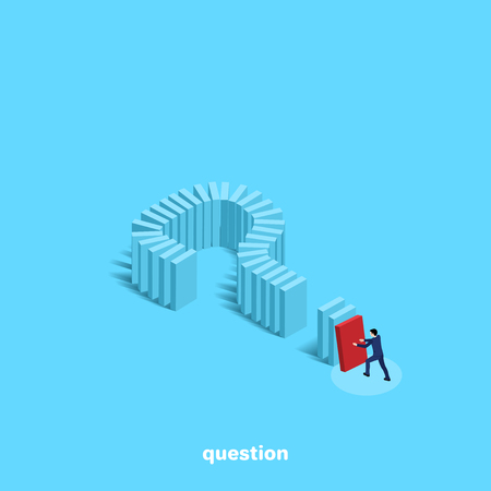 Man in business suit pushes domino built in the form of a question mark, an isometric image illustration.