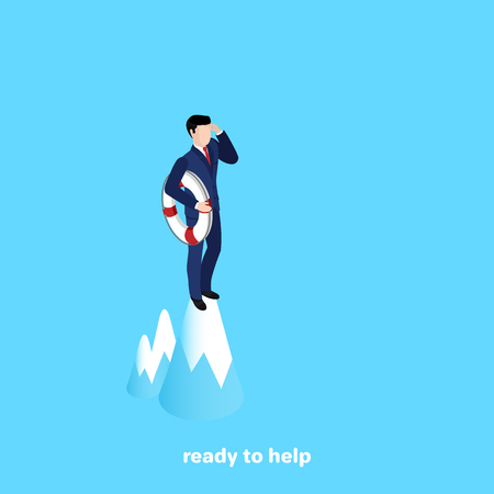 a man in a suit with a spiral circle stands on top of the mountain and looks into the distance, an isometric image