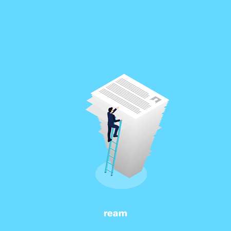 the man in a business suit climbed the stairs to a high pile of paper, an isometric image