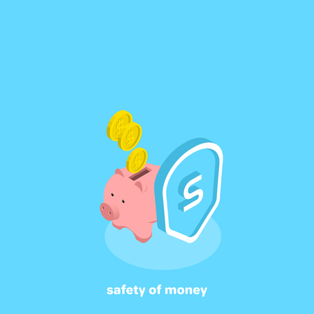 piggy bank behind the shield, isometric image