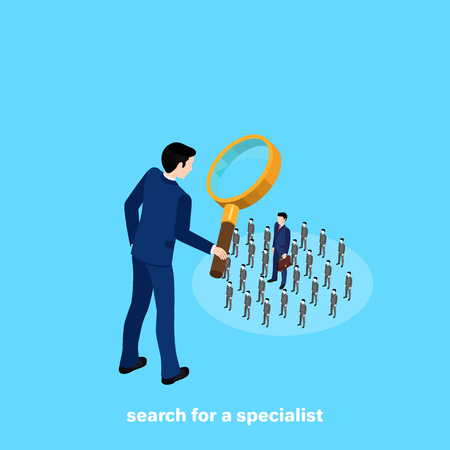 a man in a business suit looks at the  people through a magnifying glass, an isometric image Illustration