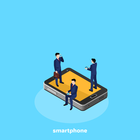 people in business suits on a smartphone, isometric image