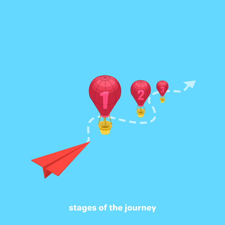 paper airplane and balloons, isometric image