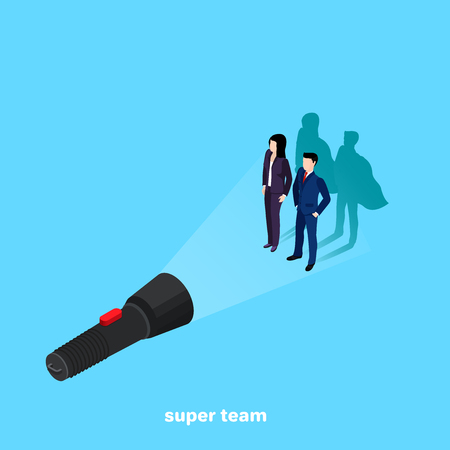 Woman and man in a business suit casts the shadow of a superhero in the light of a flashlight, personal and professional growth, an isometric image