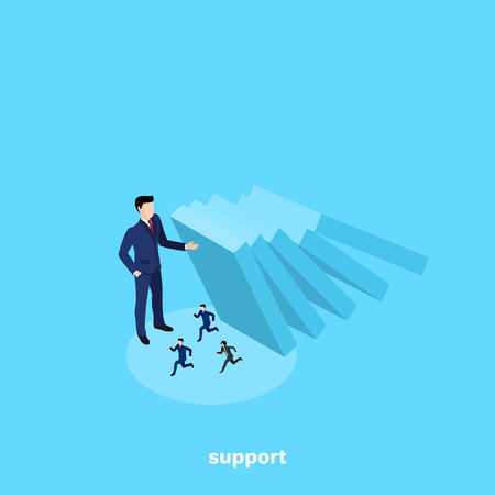 a man in a business suit holds falling slabs to save other people, isometric image Vector illustration. Ilustrace
