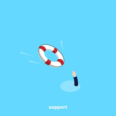 a lifeline and a protruding arm, an isometric image Vector illustration. Ilustrace