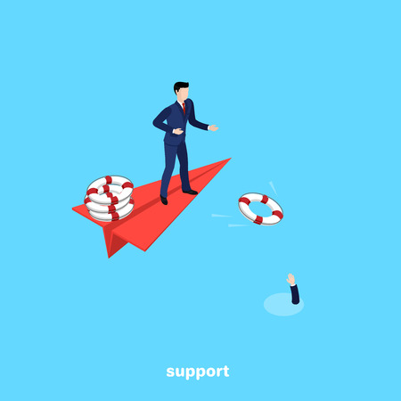 a man in a business suit throws a life ring from a paper airplane, an isometric image Vector illustration.