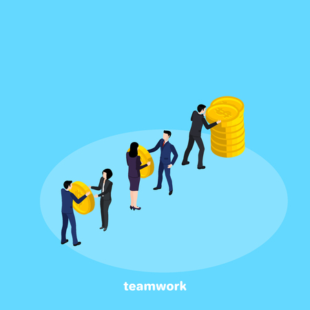 A people in business suits work in a team, an isometric image