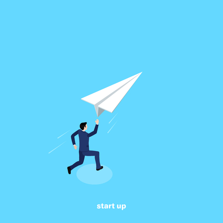A man in a business suit launches a paper plane, an isometric image Illustration