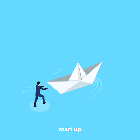a man in a business suit launches a paper boat, an isometric image Vector illustration. Ilustração