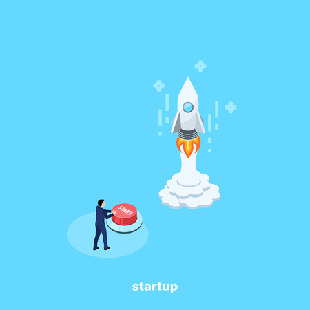 a man in a business suit presses the start button launching a rocket, an isometric image Vector illustration. Illustration