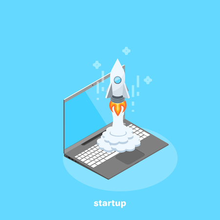 A rocket from a laptop, an isometric image Banque d'images - 98715904