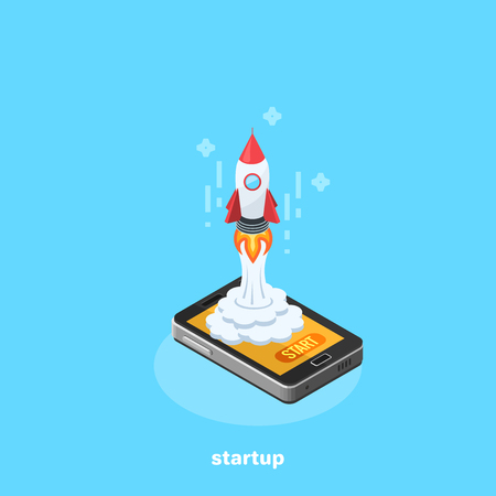 A rocket from a smartphone, an isometric image