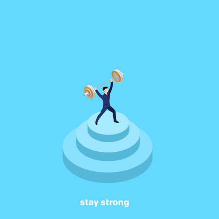 strong man in business suit with a barbell in hand on a blue background, isometric Vector illustration.