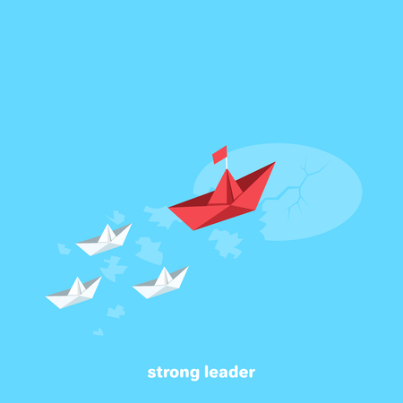 a flotilla of paper ships sails headed by the flagship in the given direction, an isometric image Vector illustration.