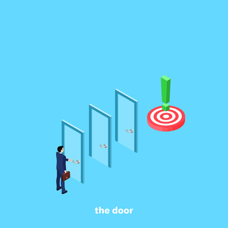 A man in a business suit passes through many doors to the goal, an isometric image Ilustração