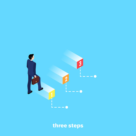 A man in a business suit with a briefcase in his hand walking on numbered steps, an isometric image