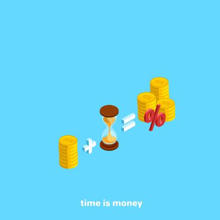 Money plus time equals interest, isometric image Vectores