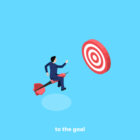 a man in a business suit flies on a dart straight to the target, an isometric image Illustration