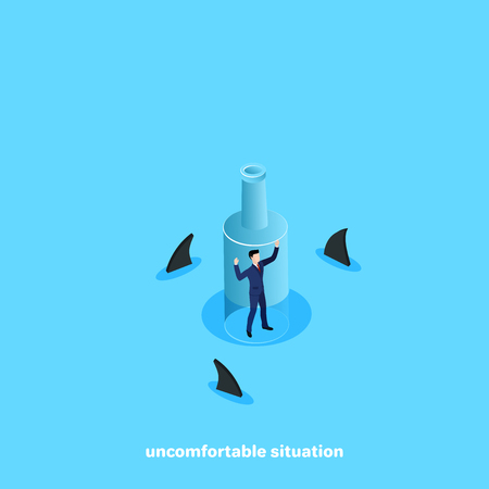 a man in a business suit in a bottle floating in the ocean of sharks, an isometric image Vectores