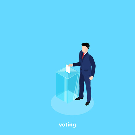 A man in a business suit throws a newsletter into a glass box, an isometric image.
