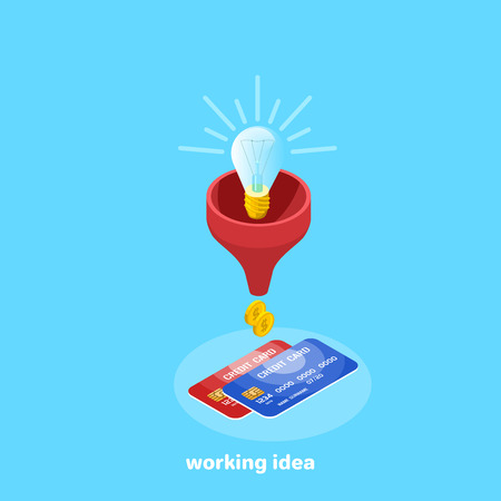 A light bulb in a red watering can and gold coins, an isometric image