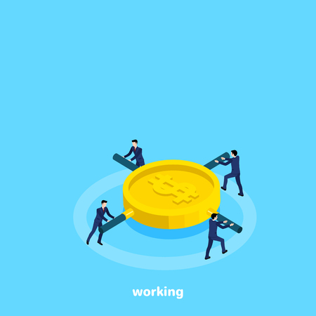 Men in business suits twist a coin flywheel, isometric image.