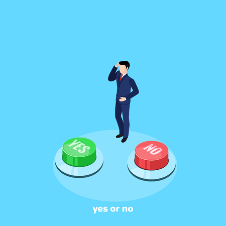 A man in a business suit thinks which button to press, an isometric image.